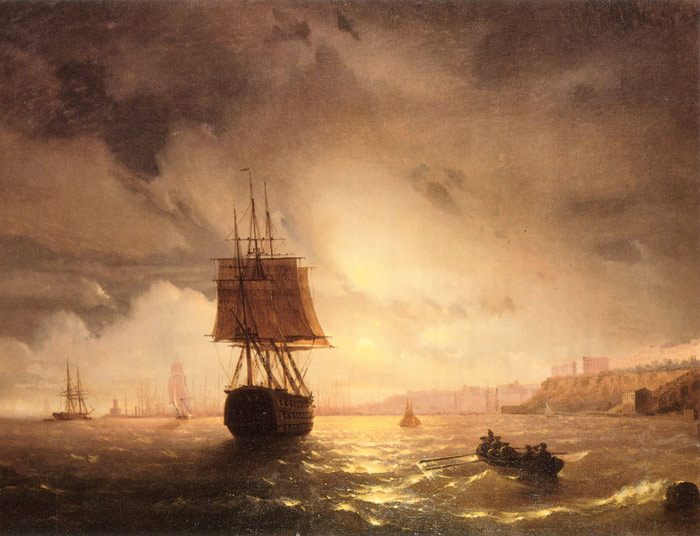 Ivan Aivazovsky Reproductions-The Harbor At Odessa On The Black Sea, 1852