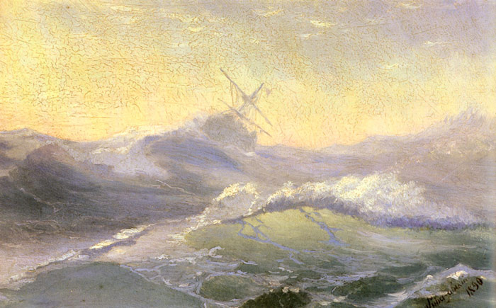 Ivan Aivazovsky Reproductions-Bracing the Waves, 1890