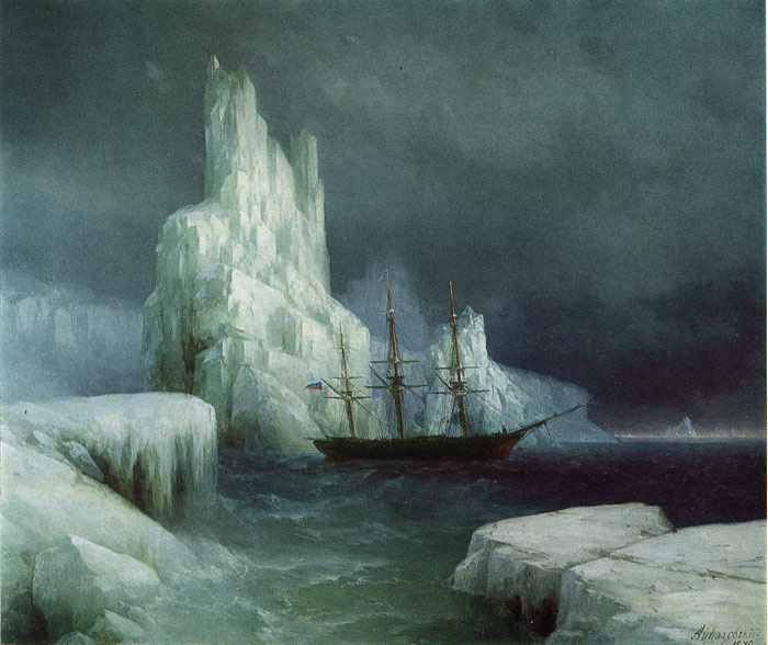 Ivan Aivazovsky Reproductions-Icebergs, 1870