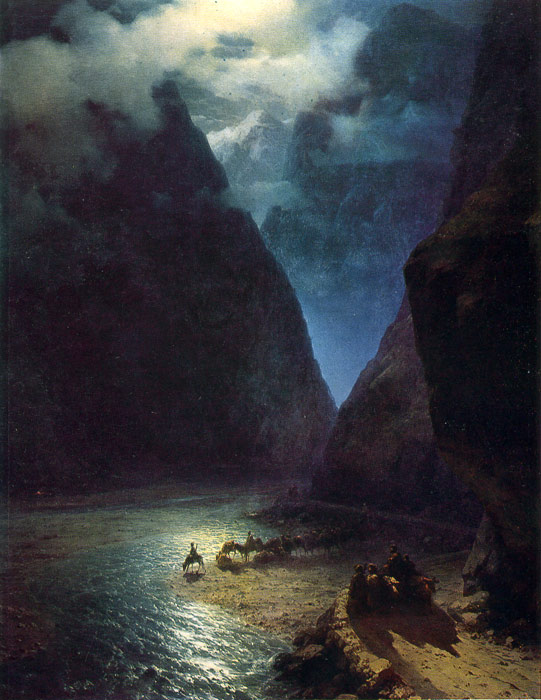 Paintings Reproductions Aivazovsky,  Ivan Constantinovich Daryal Gorge, 1862