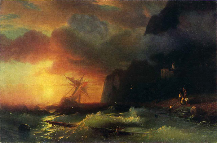 Paintings Reproductions Aivazovsky,  Ivan Constantinovich Shipwreck off Mount Athos, 1856
