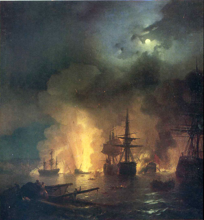 Paintings Reproductions Aivazovsky,  Ivan Constantinovich The Battle of Chesme, 1848