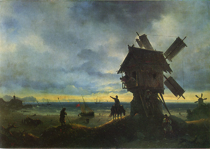 Paintings Reproductions Aivazovsky,  Ivan Constantinovich Windmill on the Seashore, 1837