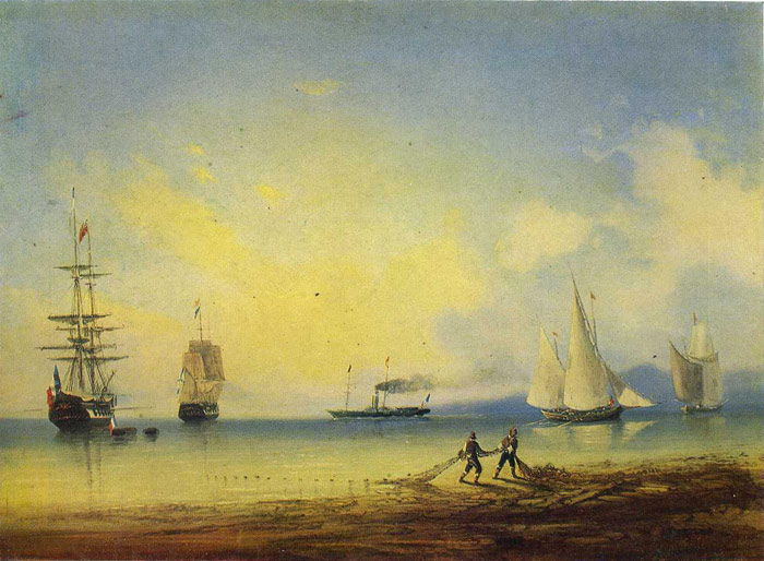 Paintings Reproductions Aivazovsky,  Ivan Constantinovich Russian and French Frigates, 1858
