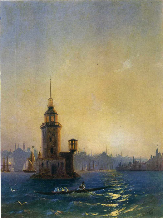 Ivan Aivazovsky Reproductions-View of the Leander Tower, 1848