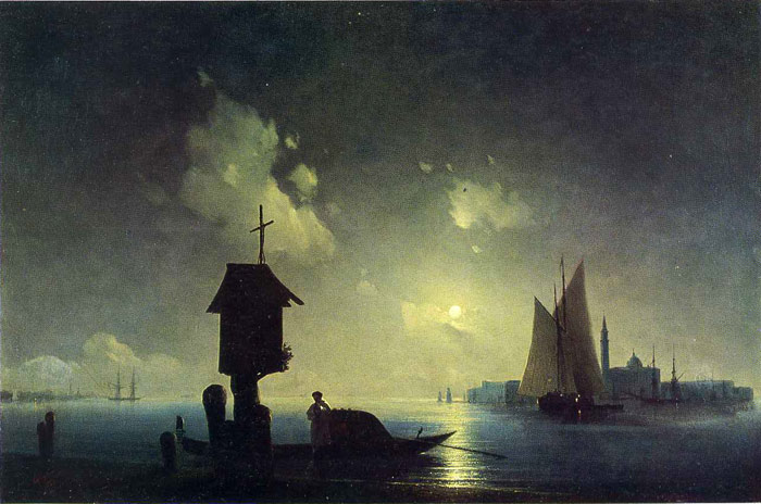 Ivan Aivazovsky Reproductions-Sea View with a Chapel, 1845