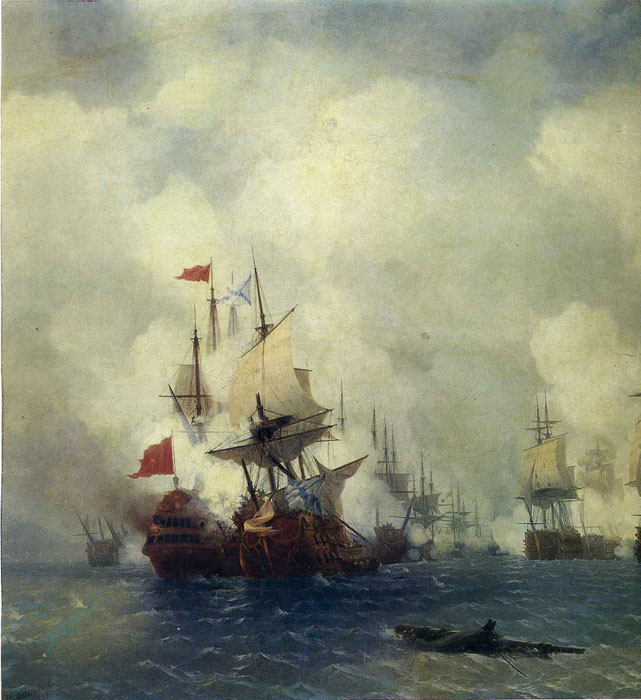 Ivan Aivazovsky Reproductions-The Battle in the Straits of Chios, 1848