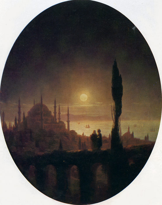 Ivan Aivazovsky Reproductions-Seashore by Moonlight, 1847
