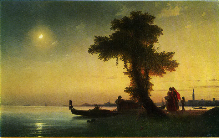Ivan Aivazovsky Reproductions-A bay Near Venice, 1842