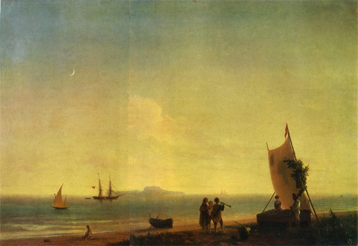 Paintings Reproductions Aivazovsky,  Ivan Constantinovich View of Capri, 1845