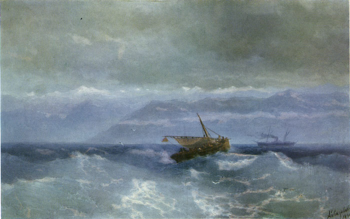 Paintings Reproductions Aivazovsky,  Ivan Constantinovich Caucasus Mountains From the Sea, 1899