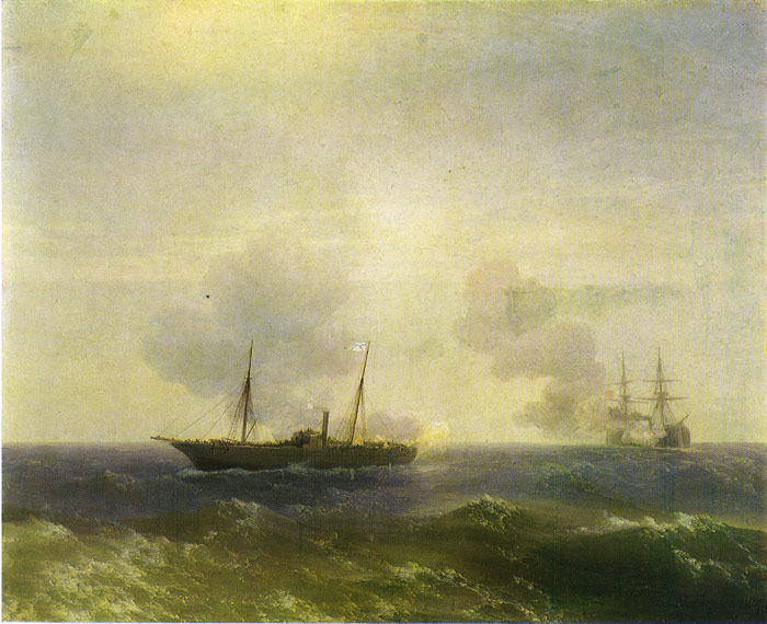 Paintings Reproductions Aivazovsky,  Ivan Constantinovich Action Between the Vesta and the Turkish Fetkhi-Bulent, 1877