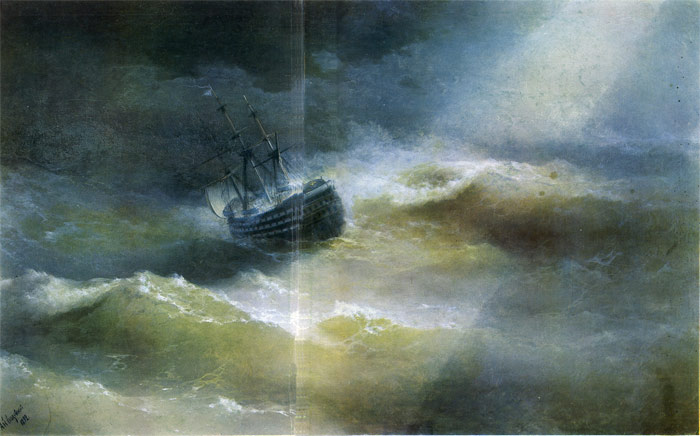 Paintings Reproductions Aivazovsky,  Ivan Constantinovich The Maria in a Gale, 1892