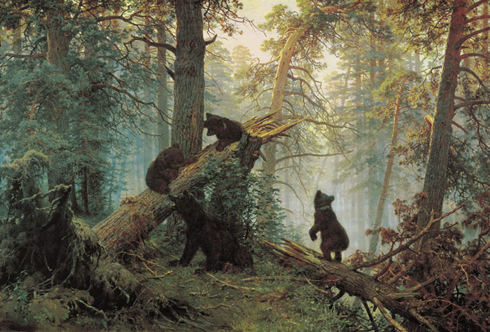 Ivan Shishkin Reproductions-Morning in the Pine-tree Forest, 1889