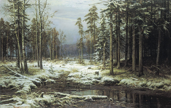 Ivan Shishkin Reproductions-The First Snow. 1875
