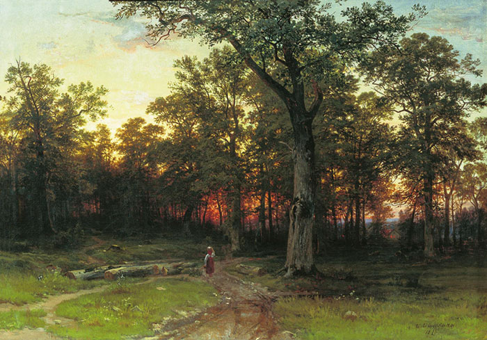 Ivan Shishkin Reproductions-Evening in the Forest. 1869