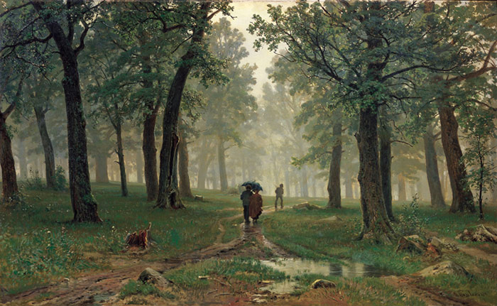 Ivan Shishkin Reproductions-Rain in the Oak Grove. 1891