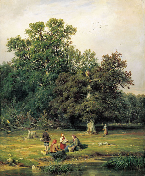 Ivan Shishkin Reproductions-Mushroom Hunting (Gathering Mushrooms), 1870