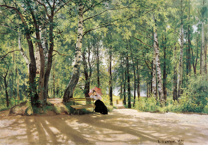 Paintings Reproductions Shishkin, Ivan Near Village. 1894