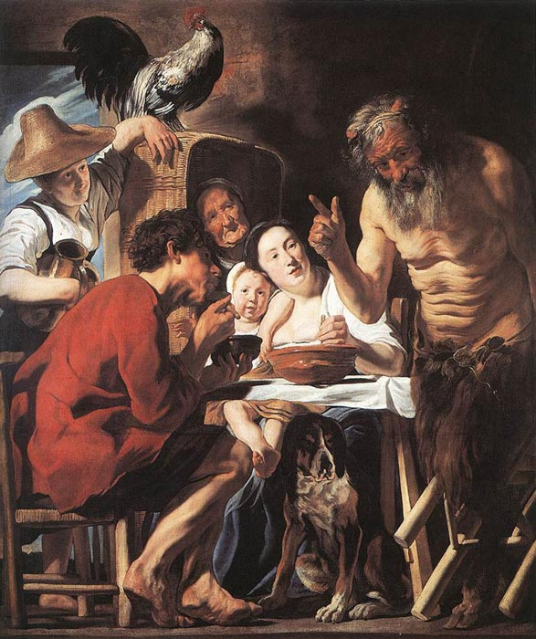 Paintings Reproductions Jordaens, Jacob Satyr and Peasant