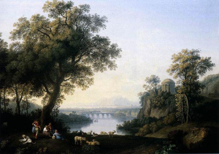 Jacob Philipp Hackert Reproductions-Landscape with River, 1778