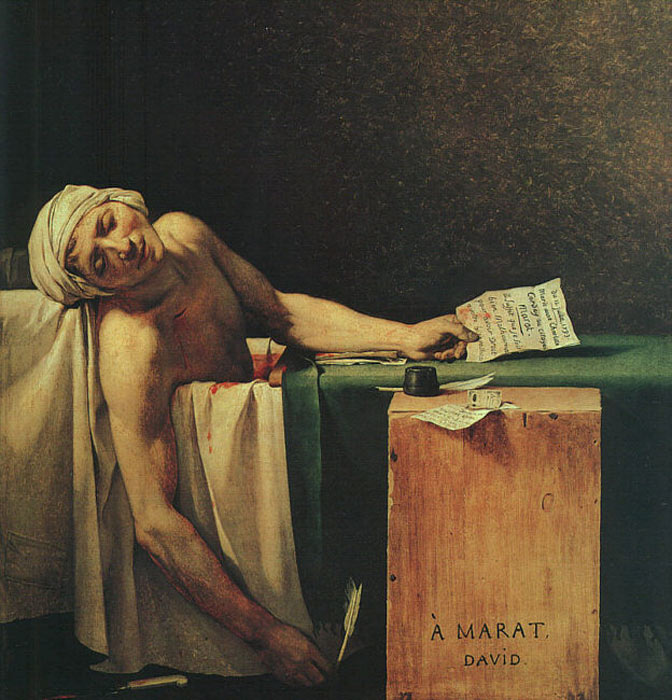 Jacques -Louis David Reproductions-The Death of Marat, 1793