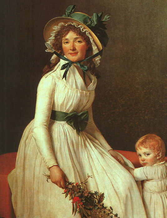 Jacques -Louis David Reproductions-Portrait of Madame Seriziat, 1795