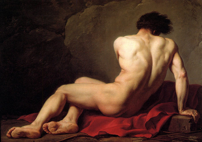Jacques -Louis David Reproductions-Male Nude known as Patroclus