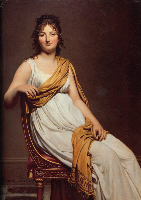Jacques -Louis David Reproductions-Portrait of Henriette de Verninac, 1799