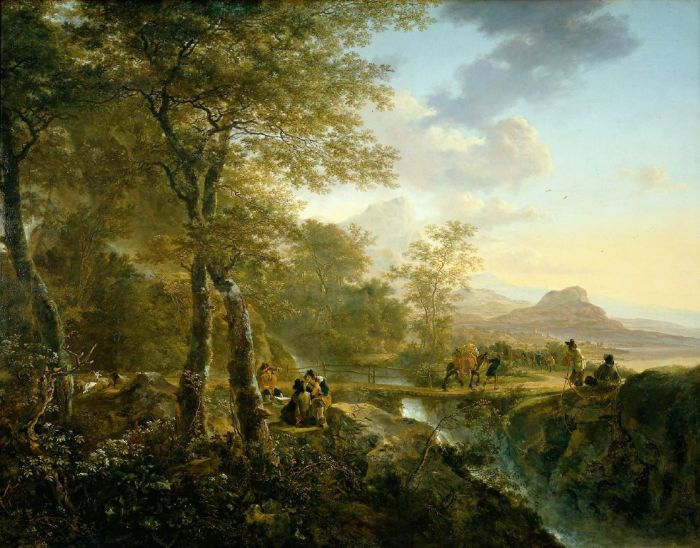 Jan Both Reproductions-Italian Landscape with Artist, 1650