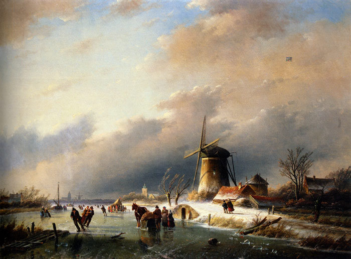 Jan Jacob Coenraad Spohler Reproductions-Figures Skating on a Frozen River