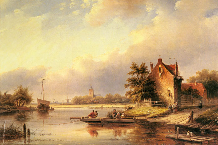 Jan Jacob Coenraad Spohler Reproductions-A Summer's Day at the Ferry Crossing