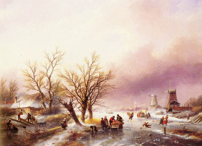 Jan Jacob Coenraad Spohler Reproductions-A Winter Landscape