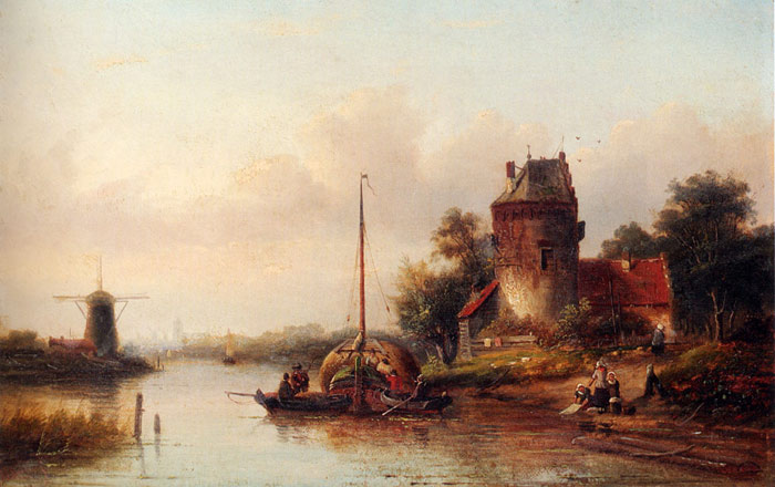 Jan Jacob Coenraad Spohler Reproductions-A River Landscape In Summer With A Moored Haybarge By A Fortified Farmhouse