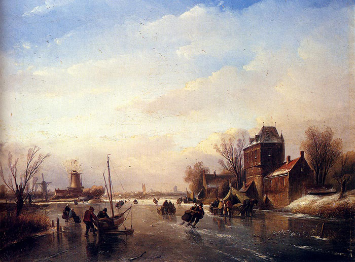 Jan Jacob Coenraad Spohler Reproductions-Skaters On A Frozen River