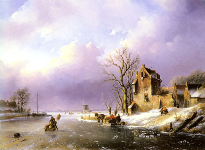 Jan Jacob Coenraad Spohler Reproductions-Winter Landscape with Figures on a Frozen River, , 1858