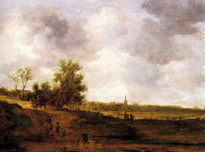 Jan van Goyen Reproductions-A rural landscape with peasants and a drover by a track, a village beyond