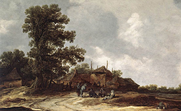 Jan van Goyen Reproductions-Farmyard with Haystack