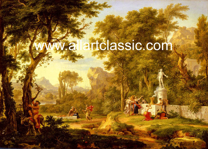 Jan van Huysum Reproductions-A classical landscape with the Worship of Bacchus