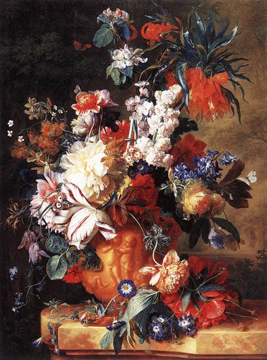 Jan van Huysum Reproductions-Bouquet of Flowers in an Urn, 1724