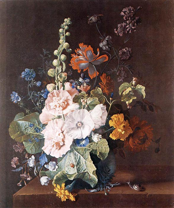 Jan van Huysum Reproductions-Hollyhocks and Other Flowers in a Vase, 1710