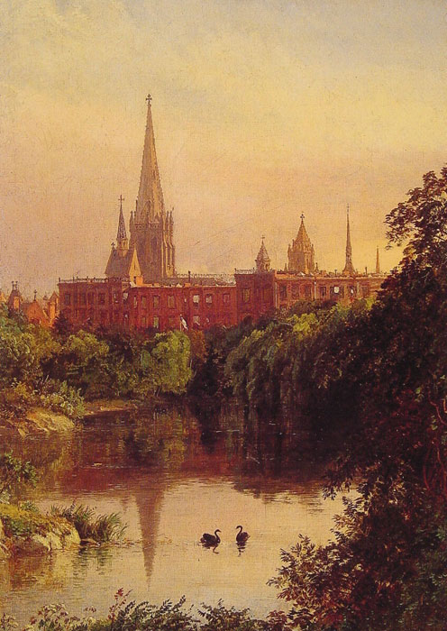 Paintings Reproductions Cropsey, Jasper Francis A View in Central Park - The Spire of Dr. Hall's Church in the Distance, 1880
