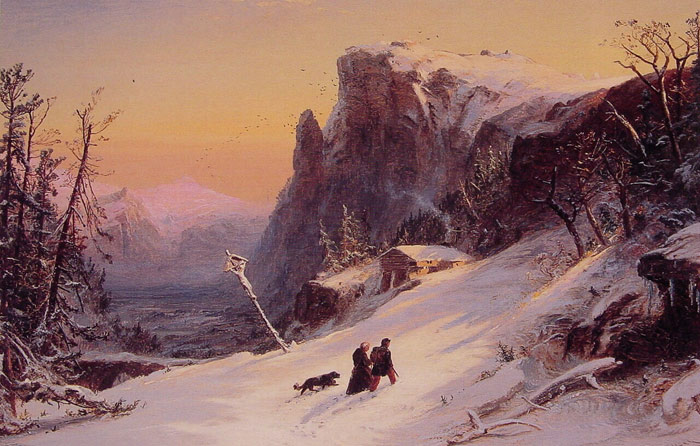 Jasper Francis Cropsey Reproductions-Winter in Switzerland, 1861