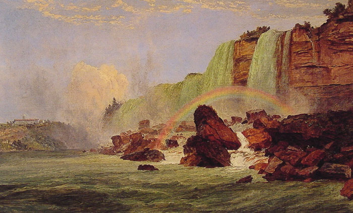 Jasper Francis Cropsey Reproductions-Niagara Falls with a View of Clifton House, 1852