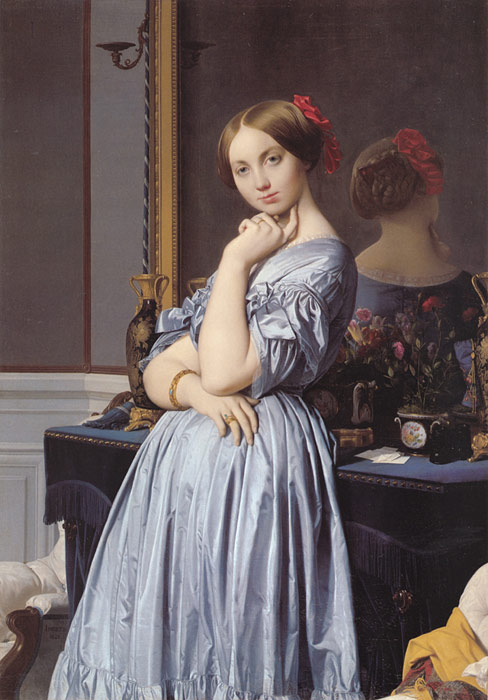 Paintings Reproductions Ingres, Jean Auguste Dominique Vicomtess Othenin d' Haussonville, nee Louise-Albertine de Broglie, 1845