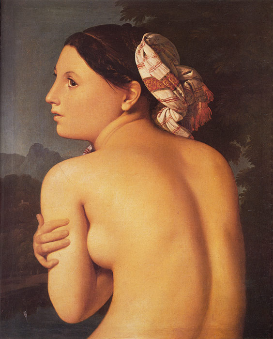 Paintings Reproductions Ingres, Jean Auguste Dominique Half-figure of a Bather, 1807