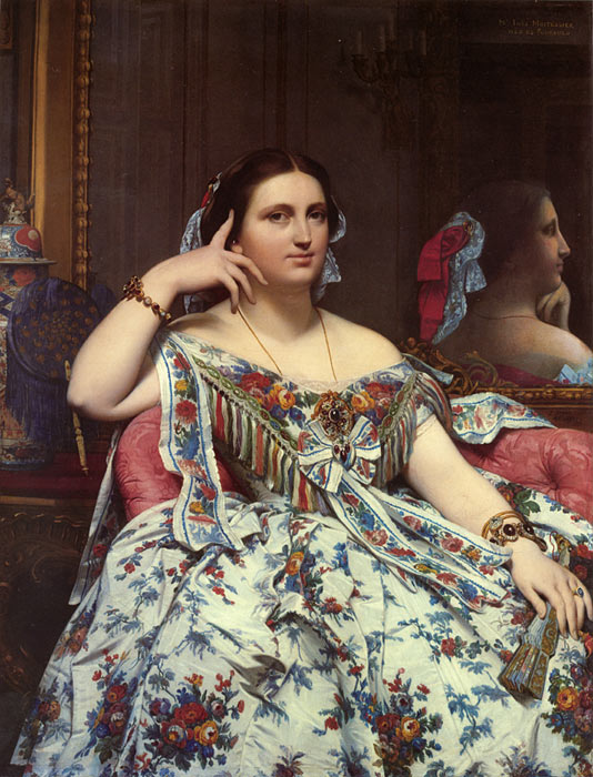 Paintings Reproductions Ingres, Jean Auguste Dominique Madame Paul-Sigisbert Moitessier, nee Marie-Clotilde-Ines de Foucauld, Seated , 1856