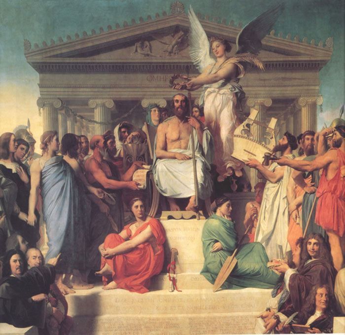 Paintings Reproductions Ingres, Jean Auguste Dominique The Apotheosis of Homer, 1827