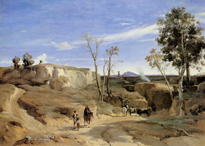 Jean-Baptiste -Camille Corot Reproductions-La Cervara, the Roman Countryside, c.1830-1831