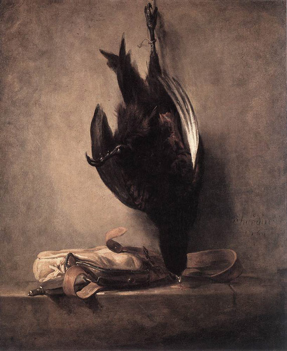 Paintings Reproductions Chardin, Jean- Baptiste Simeon Still-Life with Dead Pheasant and Hunting Bag, 1760